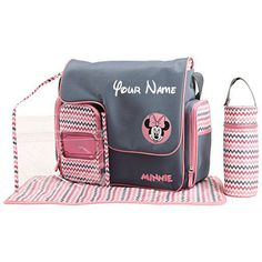 Buy Personalized Disney Minnie Mouse Chevron Print Baby Duffel Diaper Bag with Flap Top - 5 Piece Set Baby Girl Diaper Bags, Baby Girl Newborn, Baby Equipment, Minnie Mouse Pink, Baby Necessities, Diaper Bag Backpack, Baby Disney, Baby Prints, Baby Accessories
