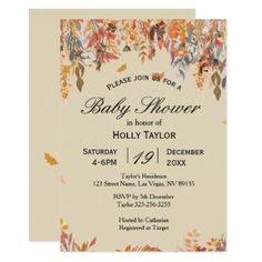 Autumn Leaves Baby Shower Invitation - wedding invitations cards custom invitation card design marriage party