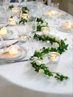 40 wedding table decoration ideas - wedding table decoration same as .- 40 Hochzeit Tischdekoration Ideen – Hochzeit Tischdeko selber machen Wedding table decorate with ivy and candles - Simple Wedding Table Decorations, Wedding Reception Decorations, Wedding Centerpieces, Table Wedding, Reception Gown, Anemone Wedding, Wedding Flowers, Wedding Dresses, Deco Table Champetre