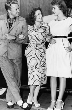 Norma Shearer with her latest discovery, Janet Leigh, on her first film 'Romance at Rosy Ridge' with Van Johnson, 1946