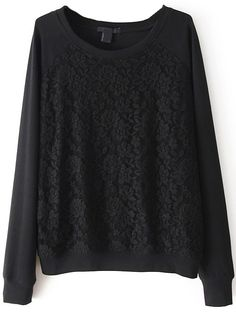 Sweat-shirt dentelle -Noir  16.64 e Sheinside
