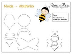 Image gallery – Page 571253533982756656 – Artofit Felt Patterns, Applique Patterns, Craft Patterns, Stuffed Toys Patterns, Quiet Book Templates, Felt Templates, Motifs D'appliques, Bee Party, Bee Crafts