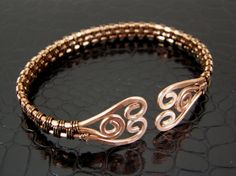 Wire Wrapped Copper Bronze Hammered Spiral Wire Weave Bracelet or Bangle