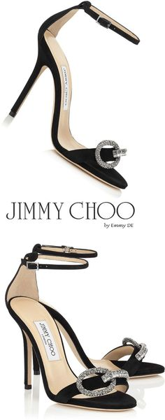 "Jimmy Choo ~ 'Tamsyn"" Black Sandals 2016 #stilettoheelsjimmychoo"