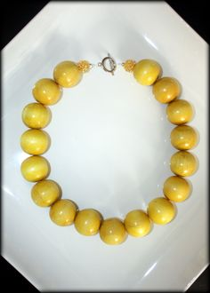YELLOW SUNSHINE Chunky Beaded wood necklace by RaeMarieJewels, $18.00