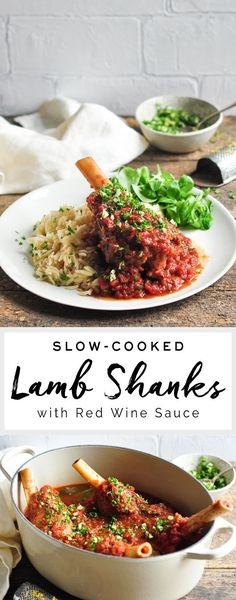 Slow Cooked Lamb Shanks with Red Wine Sauce – Eat, Little Bird Lamb Recipes, Meat Recipes, Slow Cooker Recipes, Crockpot Recipes, Chicken Recipes, Healthy Recipes, Delicious Recipes, Family Recipes, Slow Cooked Meals