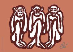 JACQUELINE DITT - 3 Wise Monkeys Miniatur ACEO limitiert Grafik ger. Weise Affen