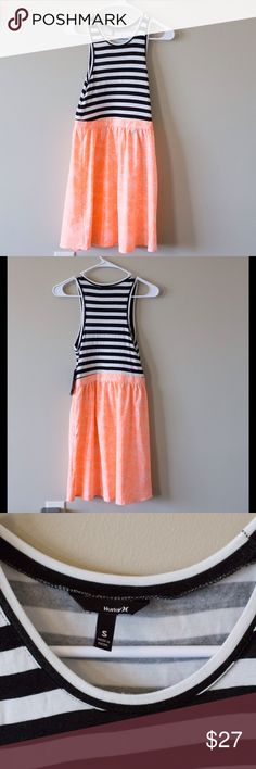NWT Hurley dress New with tags Hurley dress. Striped tank top top and flowy orange bottom. Side zipper enclosure. Upper-95% rayon 5% spandex bottom is 100% polyester Hurley Dresses