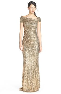 Free Shipping And Returns On Badgley Mischka Sequin Off The Shoulder Gown At Nordstrom