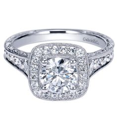 vintage engagement ring, halo style
