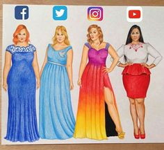Social media street media Which one? Social media-inspired Plus Size models hope you like it Fashion Drawing Dresses, Fashion Illustration Dresses, Cute Disney Drawings, Cool Art Drawings, Drawing Art, Art Sketches, Pencil Drawings, Dress Drawing, Drawing Clothes