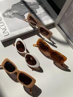 Cream Aesthetic, Classy Aesthetic, Brown Aesthetic, Aesthetic Clothes, Cute Sunglasses, Sunnies, Summer Sunglasses, Vintage Sunglasses, Round Sunglasses
