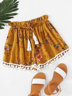 Women S Fashion Cycling Shorts Summer Shorts Outfits, Cute Comfy Outfits, Short Outfits, Boho Outfits, Pompom Shorts Outfit, Boho Fashion, Womens Fashion, Fashion Trends, Fashion Black