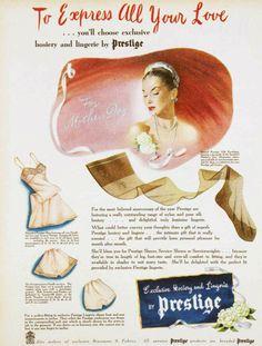 Prestige lingerie and hosiery Nylons, Vintage Underwear, Vintage Lingerie, Vintage Stockings, Nylon Stockings, Print Advertising, Print Ads, Vintage Prints, Vintage Photos