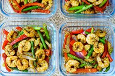 One Sheet Pan Shrimp Fajitas for Clean Eating Food Prep! - This week's delicious Food Prep, baby!  Clean Eating is never boring with colors like THIS! :) Ingredients: 1 1/2 pounds of shrimp, peeled and deveined 2 red bell peppers, sliced thin 1 red onion, sliced thin 10 oz asparagus, trimmed and cut into halves 1 1/2 Tbsps of avocado oil, or extra...