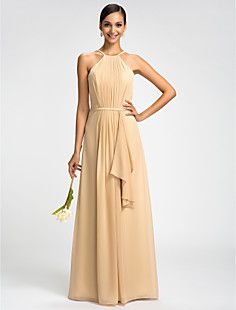 Sheath/Column High Neck Floor-length Chiffon Evening Dress – GBP £ 62.42