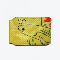 Upcycled Travel Card holder -Yellow
