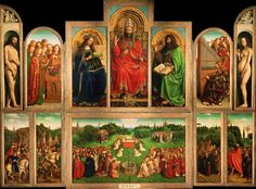 The Ghent Altarpiece - Jan van Eyck  Observed naturalistic details, such as the effect of water seen through glass, the light reflecting in a horse's eye, and botanically-identifiable plants.  Monumental works with an intricate level of detail usually reserved for portrait miniatures and illuminated manuscripts.  Unidealized nudes of Adam and Eve.