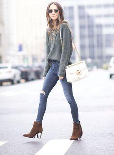 2016 Rag & Bone Jeans / Boots / / NILI LOTAN Sweater / Gucci Bag