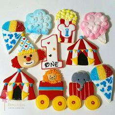 Mickey's Carnival themed 1st birthday sugar cookies