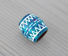 Teal Dreadlock Bead Blue Tribal Hair Bead Wood by OneUrbanTribe, $10.00
