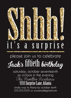 Shhh Its A Surpise Party Invitation Gold Glitter By 4414Designs 60th Birthday Ideas For Mom