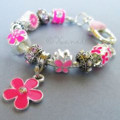 Pink Flower Garden European Charm Bracelet With by xanaducharms, $19.95