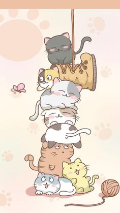 16 Ideas Wallpaper Phone Cute Backgrounds Android For 2019 Chat Kawaii, Kawaii Cat, Kawaii Anime, Cute Cat Drawing, Cute Kawaii Drawings, Cat Cartoon Drawing, Drawing Animals, Cute Cat Wallpaper, Kawaii Wallpaper