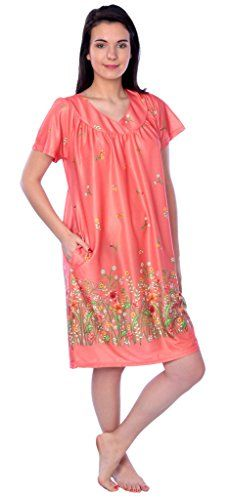 New Trending Outerwear: Womens Short Sleeve Housecoat Floral Duster Nightgown RM9004 Peach L. Women's Short Sleeve Housecoat Floral Duster Nightgown RM9004 Peach L  Special Offer: $12.49  433 Reviews This long and smooth Housecoat will have you dreaming in color and comfort, Floral print with beautiful finish on top, We offer the best price and fit in Housecoat, sleep...