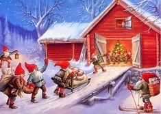 "Lots of elves - Artist Lars Carlsson - used 1991 "" Christmas Card Crafts, Vintage Christmas Cards, Christmas Images, Christmas Elf, Norway Christmas, Christmas Scenes, Christmas Ideas, Christmas Knomes, David The Gnome"