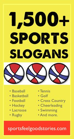 Sports Slogans, Sayings and Phrases for Teams of all Ages. Great for basketball slogans, football slogans, baseball sayings, hockey mottos and more. Sports Slogans, Team Slogans, Sports Sayings, Basketball Slogans, Football Slogans, Baseball Sayings, Sports Day, Kids Sports, Sports Teams