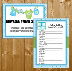 Traditional Baby Shower Games, Word Scramble, Clothesline Shower Games for a Boy, Word Scramble Game, Printable, Instant Download