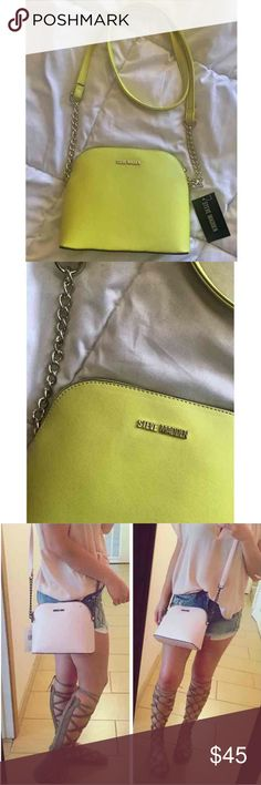 NWT STEVE MADDEN BAG Super bright Lime green color. Peeerrfect for spring n summer. Brand new with tags.  Las picture is the same bag just different color. (That one is not available anymore)    Same/next day shipping  FREE gift with purchase  PRICE IS FIRM! Steve Madden Bags Crossbody Bags