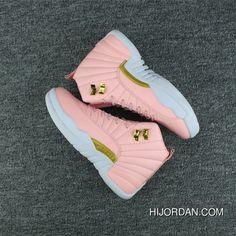 "5684ab97bf5b58 2017 Air Jordan 12 GS ""Pink Lemonade"" Pink White-Gold in 2019 ..."