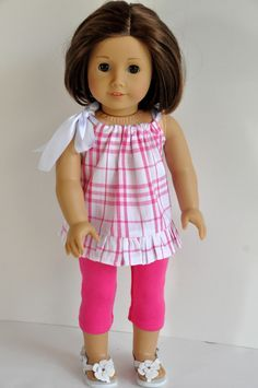American Girl Doll Clothes Pink and White Plaid Print Summer Top with Ruffle and Pink Leggings 18 inch by CircleCSewing on Etsy