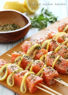 """""""Dressed to Grill"""": Healthy/Delicious Summer Grilling Tips and Recipes.............On the Grill Today: Grilled Lemon Salmon Skewers"""
