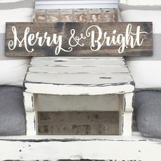 Christmas Wall Decor - Merry and Bright - Wooden Sign - Rustic Sign - Farm House - Christmas. This is a hand painted sign on pine board. It's shown here with a dark walnut stained background and letters in ivory. There is a saw tooth hanger attached to the back if you'd like to hang it or you can prop it up on a shelf. A protective clear coat is applied to the finished product to protect your piece for years to come. I make no attempt to cover any knots or imperfections- they give your…