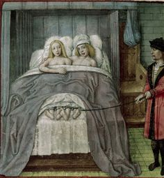 'Detail of a miniature of Vulcan finding his wife in bed with Mars; he ties their feet together.' British Library, Harley 4425, f. 122v . Guillaume de Lorris and Jean de Meun, Roman de la Rose. Netherlands, c.1490 - c.1500.