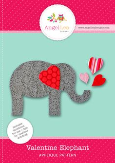 valentine elephant applique pattern