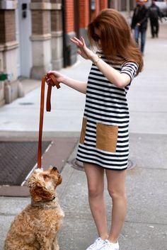 exPress-o: Summer Staple: Striped Dress with Patch Leather Pockets