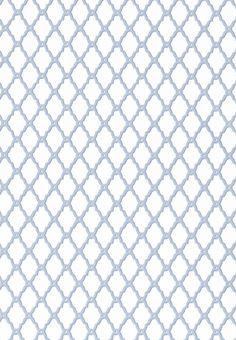 Rothbury Trellis Wallpaper An elegant geometric wallpaper with a trellis design in blue on white.