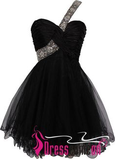 Short One Shoulder Beaded Straps Black Homecoming Dress Formal Gown Cheap Prom Dresses For Teens Junior - Thumbnail 1