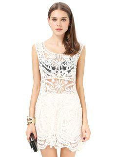 blanco Ronda transparente bordada sin mangas del cuello vestido US$12.39