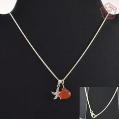 Star With Carnelian Stone Fashionable Design 925 Sterling Silver Necklace NK2960…