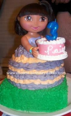 Homemade Dora Doll Birthday Cake Design: The Dora Doll Birthday Cake Design was made from pure love for my 3 year old daughter (who by the way is crazy about Dora the Explorer!) I started my research