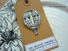 Pretty Shrink Plastic Hot Air Balloon Pin Brooch with Hearts