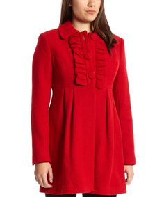 Take a look at the Fleet Street Red Wool-Blend Empire-Waist Coat on #zulily today!