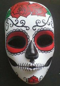 Hand Painted Day of the Dead Mask by readytohangbylisa on Etsy Day Of The Dead Mask, Day Of The Dead Skull, Mascaras Halloween, Halloween Masks, Masks Art, Clay Masks, Mexican Mask, Ceramic Mask, Mask Painting