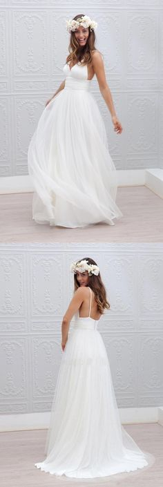 Beach wedding dress,White wedding dresses,Backless bridal gowns,Chiffon Long wedding dress,sexy seaside wedding dress