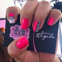 Uñas Lace Nails, Flower Nails, Nail Spa, Manicure And Pedicure, Pretty Nails, Fun Nails, Mandala Nails, Tribal Nails, Gel Nail Designs